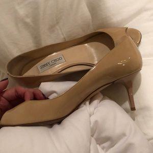 Jimmy choo nude patent leather peep toe